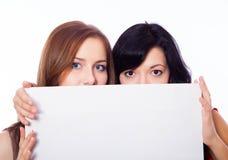 2 девушки с знаменем. Стоковая Фотография RF