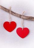 2 деревянных красных сердца вися на ветви Стоковые Изображения