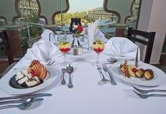 2 десерта в ресторан carte la Стоковые Фотографии RF
