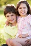 2 дет обнимая в поле лета Стоковые Фотографии RF