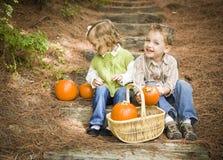 2 дет сидя на деревянных шагах с тыквами Стоковые Изображения RF