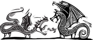 2 дракона иллюстрация вектора