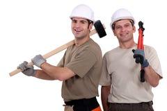 2 друз строителя Стоковая Фотография