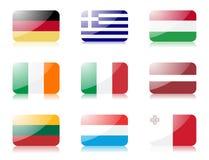 2 европейских флага установили соединение стоковое фото