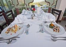 2 еды в ресторан carte la Стоковые Изображения
