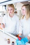 2 женских исследователя работая в лаборатории Стоковое Изображение RF