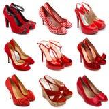 2 женских красных ботинка Стоковое Изображение RF