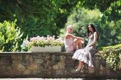 2 женщины над предпосылкой парка Стоковое Изображение RF