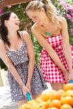 2 женщины нажимая тачку Стоковое фото RF