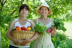 2 женщины с хлебоуборкой овощей Стоковые Изображения
