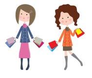 2 женщины шаржа с пакетами иллюстрация вектора