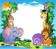 2 животного обрамляют тропическое Стоковая Фотография