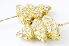 2 золотистых дерева Новый Год - украшение Новый Год Стоковые Фотографии RF