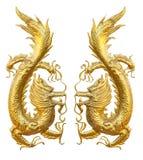 2 золотистых дракона лицом к лицу одина другого Стоковое Фото