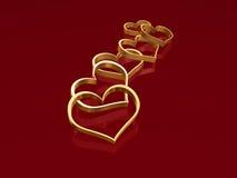2 золотистых сердца Стоковое Изображение RF