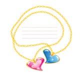 2 золотистых цепи ювелирных изделий с сердцем Стоковая Фотография