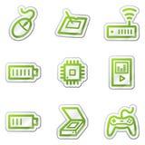 2 иконы зеленого цвета электроники контура установили сеть стикера Стоковые Изображения RF