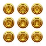2 иконы золота кнопки установили сеть Стоковые Фотографии RF