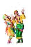 2 клоуна в пузырях мыла Стоковое фото RF