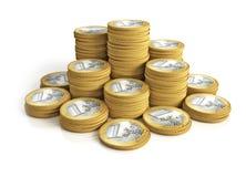 2 колонки монеток много Стоковая Фотография