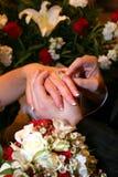 2 кольца рук groom невесты Стоковое Изображение