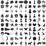 2 комплект 100 икон Иллюстрация штока