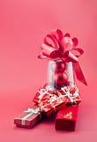 2 коробки для ювелирных изделий и подарков Кристмас Стоковое Изображение RF