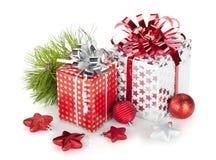 2 коробки подарка и декора рождества Стоковое Фото