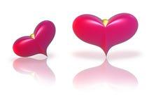 2 красных сердца с отражением Стоковые Изображения