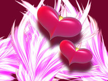 2 красных сердца Стоковое Фото