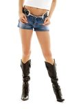2 краткости джинсовой ткани ковбоя ботинок Стоковые Фото