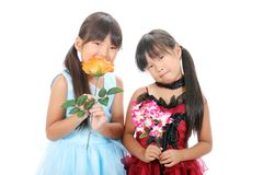 2 маленьких азиатских девушки Стоковое фото RF