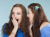 2 молодых женских друз шепча сплетне Стоковые Изображения RF