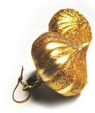 2 орнамента рождества золотистых Стоковая Фотография RF