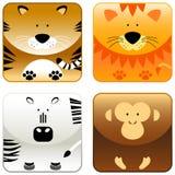 2 одичалого иконы животных установленных Стоковое фото RF