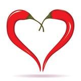 2 перца chili формируя форму сердца. Горячий символ любовника. Стоковые Изображения RF