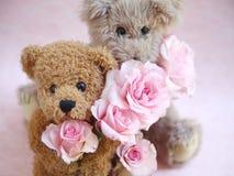 2 плюшевого медвежонка держа розы Стоковое Изображение