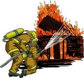 2 пожарного в действии Стоковое фото RF