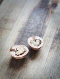 2 половины грецкого ореха на древесине Стоковая Фотография