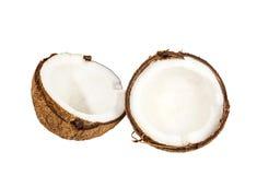 2 половины кокоса на белизне Стоковое Изображение RF