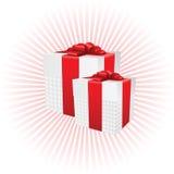 2 присутствующих коробки на радиальной предпосылке Стоковые Фотографии RF