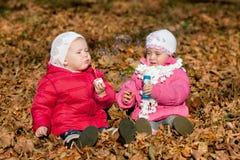 2 пузыря девушки дуя outdoors Стоковые Изображения