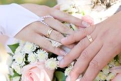 2 руки с обручальными кольцами на букете цветка Стоковое Изображение RF