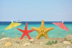 2 рыбы звезды с бумажными зонтиками Стоковая Фотография RF