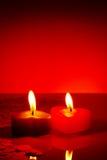 2 свечки горящих сердца форменных Стоковое фото RF