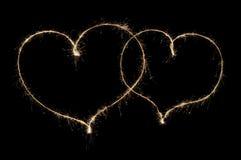 2 сердца от бенгальского огня Стоковая Фотография