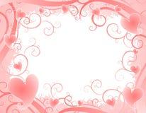2 сердца предпосылки pink свирли нежности Стоковое фото RF
