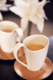 2 симпатичных чашки капучино Стоковые Фото