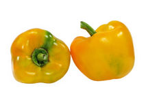 2 сладостных желтых перца. Изолировано. Стоковая Фотография RF