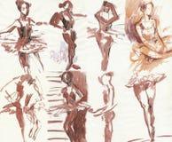 2 танцора рисуя положение Стоковая Фотография RF